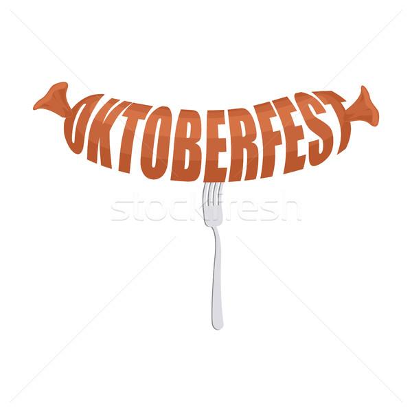 Oktoberfest kiełbasa widelec godło mięsa logo Zdjęcia stock © popaukropa