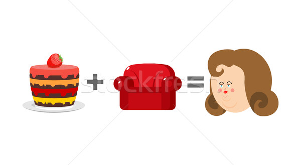 Cake plus sofa is equal to obesity. Mathematics of adiposity. Fo Stock photo © popaukropa