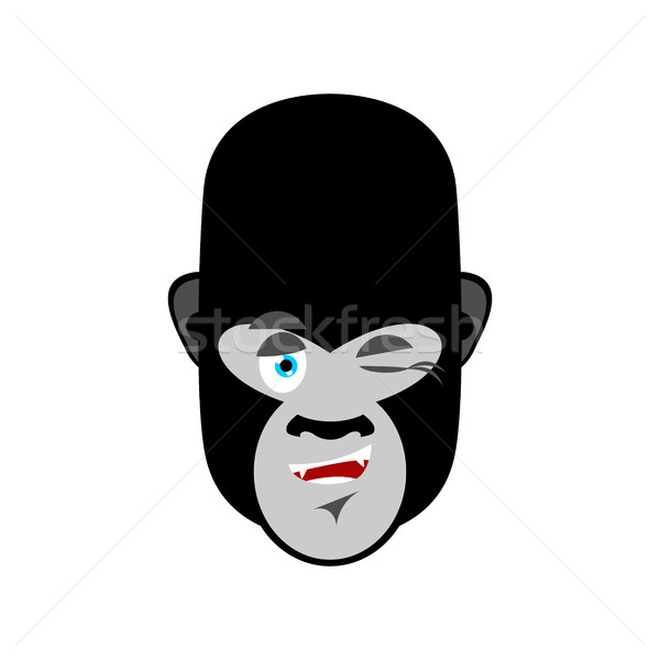 Gorilla winks Emoji. Monkey happy emotion isolated Stock photo © popaukropa