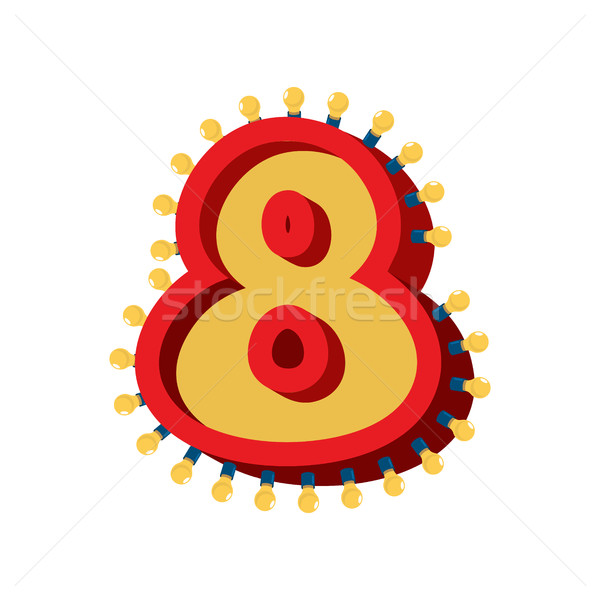 Number 8 lamp glowing font. Vintage light bulb alphabet sign eig Stock photo © popaukropa