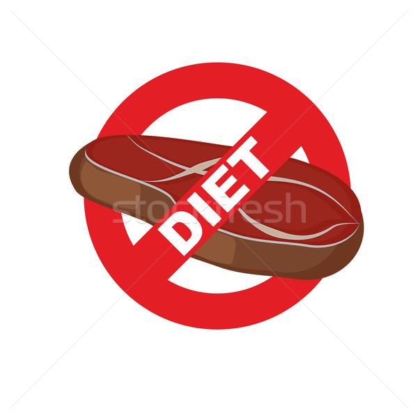 Stop meat. Banning food mark. Steak. Logo for diet. Vector illus Stock photo © popaukropa