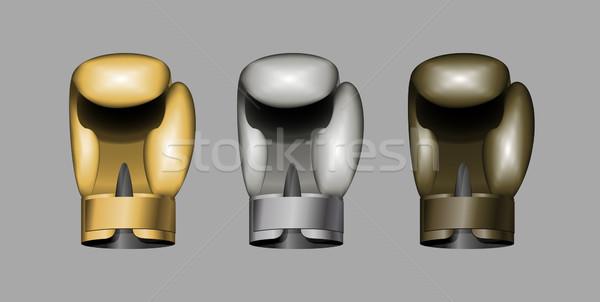 Bokshandschoenen ingesteld boksen goud bronzen zilver Stockfoto © popaukropa