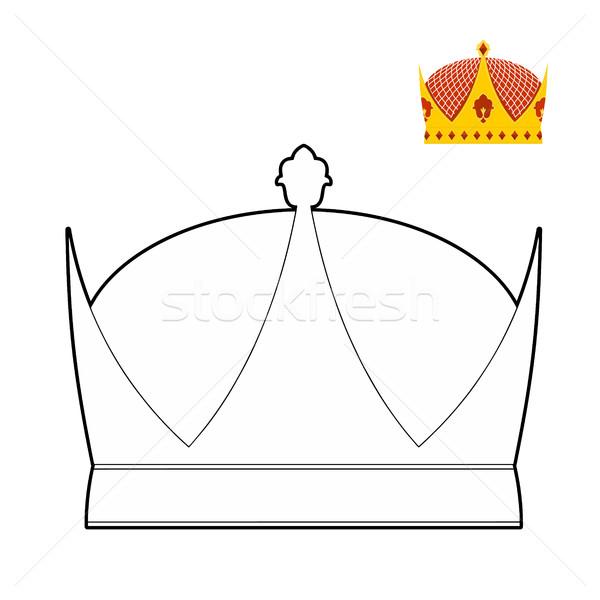 Boyama Kitabı Taç Kraliyet şapka Kral Vektör Vektör