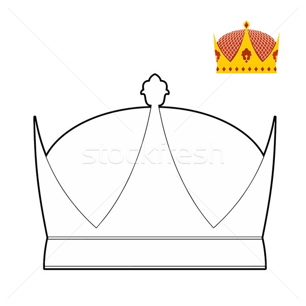 Boyama Kitabi Tac Kraliyet Sapka Kral Vektor Vektor