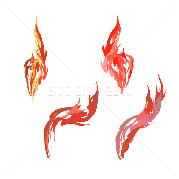 Set flame. Fire on a white background. Vector illustration Stock photo © popaukropa