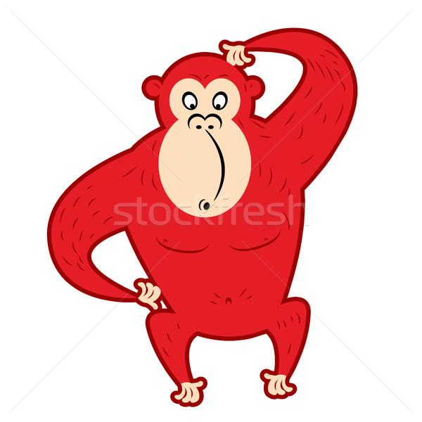 赤 驚いた 猿 頭 かわいい シンボル ストックフォト © popaukropa