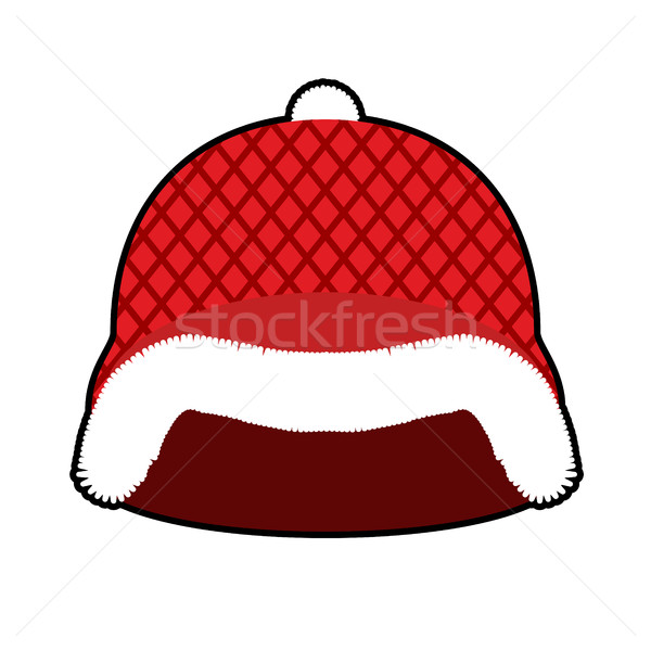 Santa Claus Helmet. Red Military hard hat with fur. Army Christm Stock photo © popaukropa