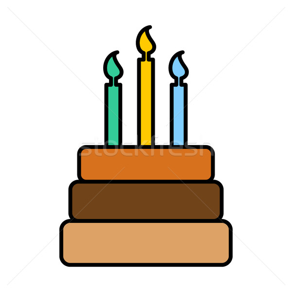 Birthday Cake sign. Logo dessert for holiday. Cake and candles i Stock photo © popaukropa