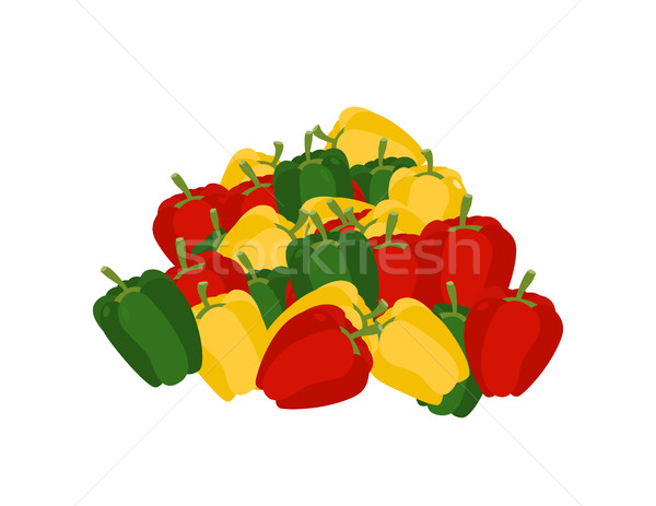 bunch of pepper. lot of vegetables. big crop Bulgarian pepper on Stock photo © popaukropa