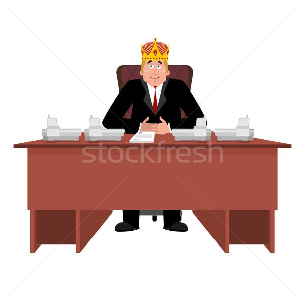President in crown at desk. Modern King is businessman. Big Boss Stock photo © popaukropa