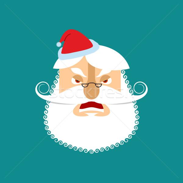 Santa angry Emoji. Aggressive Santa Claus. head of grandfather w Stock photo © popaukropa