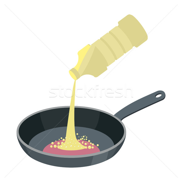 Frying pan with butter isolated. Kitchen utensils for cooking fo Stock photo © popaukropa