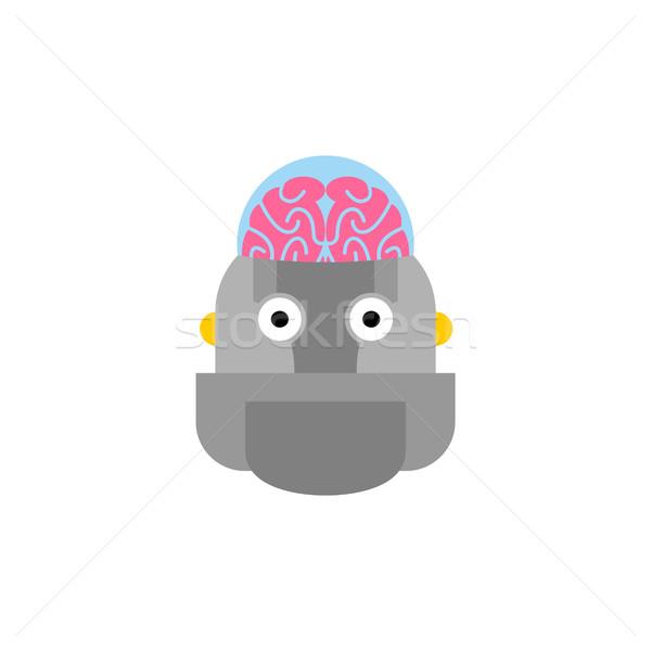 Yapay zeka robot beyin cyborg kafa bilgisayar Stok fotoğraf © popaukropa