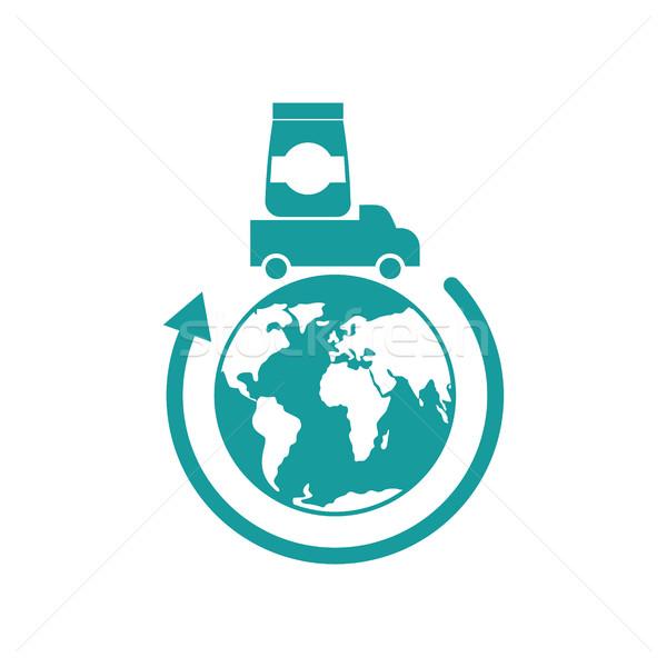 Logistique icône livraison signe camion Photo stock © popaukropa