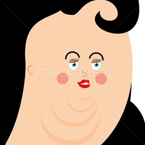 Fat woman face. plump person. Very thick girl avatar Stock photo © popaukropa