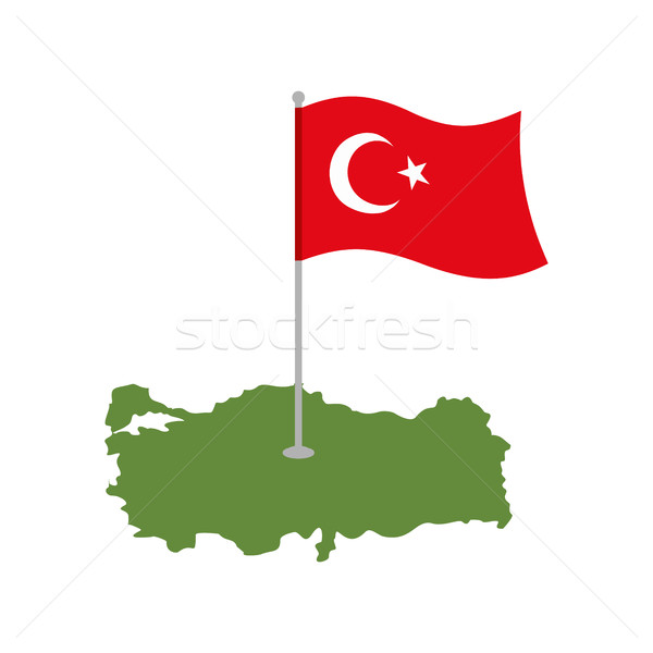 Turkey Map and Flag. Turkish banner and land area. State patriot Stock photo © popaukropa