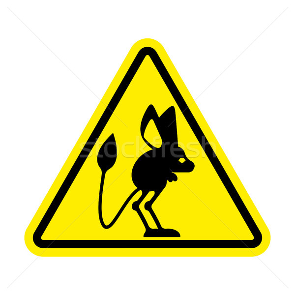 Attention Jerboa. Caution Steppe animal. Yellow triangle road si Stock photo © popaukropa