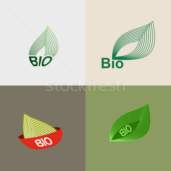 Foto stock: Bio · logotipo · folhas · verdes · folhas · ambiental · ícones