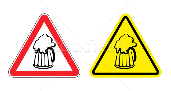 Warning sign attention beer mug. Hazard yellow sign to drink alc Stock photo © popaukropa
