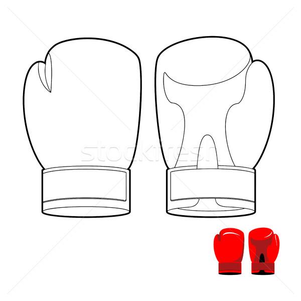 Kleurboek bokshandschoenen sport hand gelukkig sport Stockfoto © popaukropa