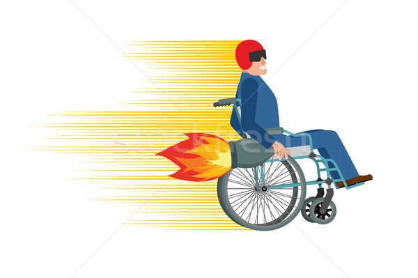 Wheelchair with turbo engine. Disabled fast rides. Man in Chair  Stock photo © popaukropa