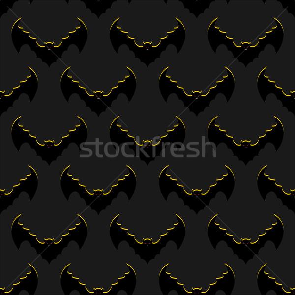 Bats background. Flock of flying bloodsuckers seamless pattern.  Stock photo © popaukropa