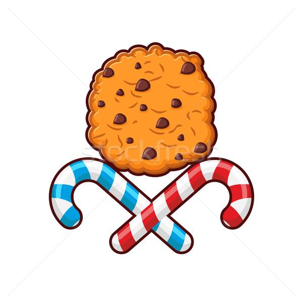 Menthe poivrée Noël bonbons cookies emblème nouvelle année Photo stock © popaukropa