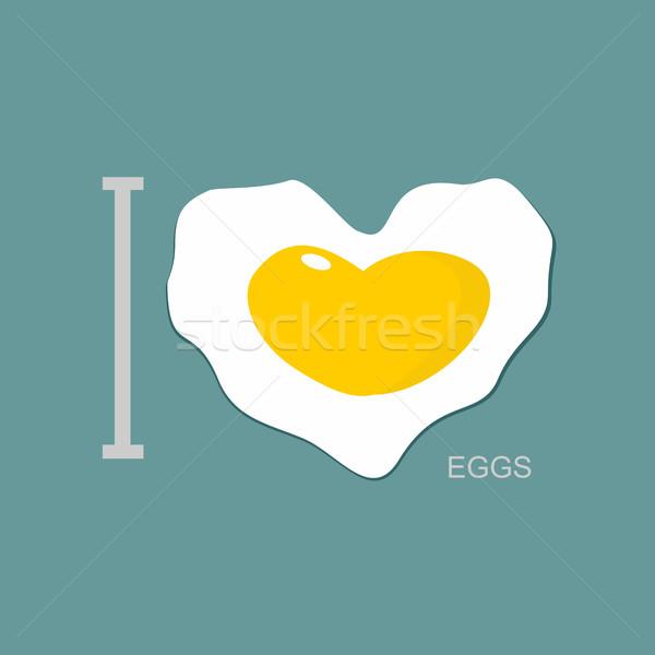 Szeretet rántotta szimbólum szív tükörtojás virág Stock fotó © popaukropa