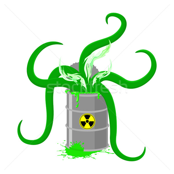Barrel of Toxic waste and green tentacles. Vector illustration o Stock photo © popaukropa