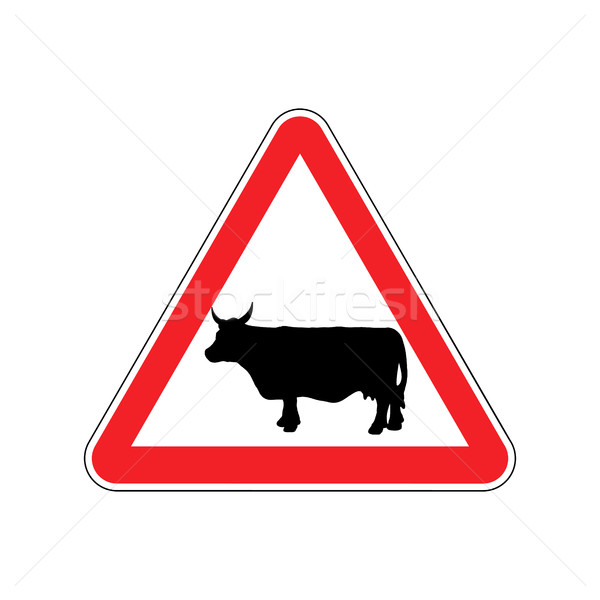 Cow Warning sign red. Farm Hazard attention symbol. Danger road  Stock photo © popaukropa