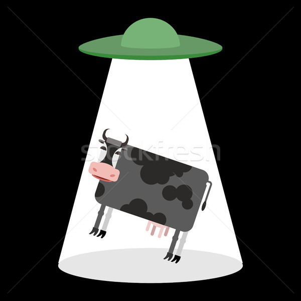 UFO and cow. Aliens abduct cattle. Frisbee and farm animals Stock photo © popaukropa