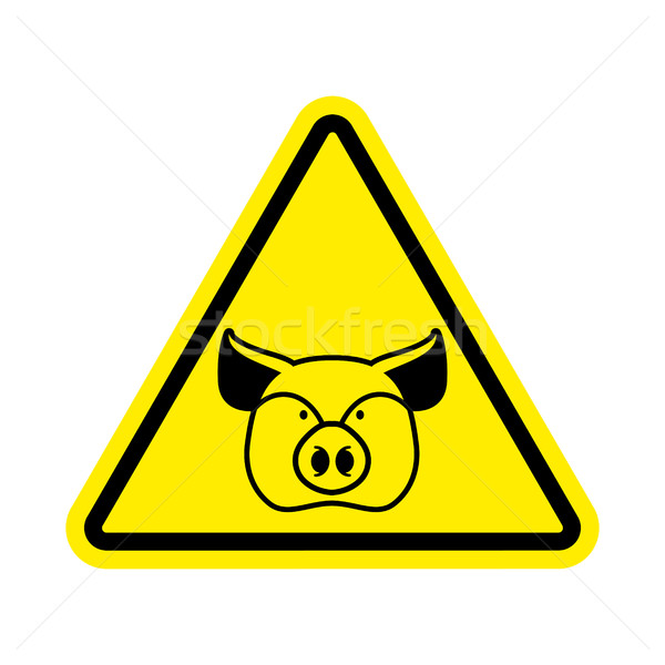 Warning Pig. swine on yellow triangle. Road sign attention to fa Stock photo © popaukropa
