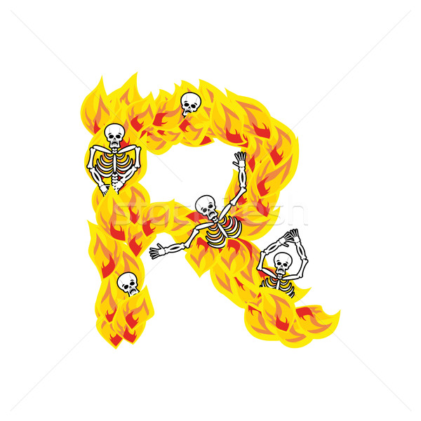 Letter R hellish flames and sinners font. Fiery lettering. Infer Stock photo © popaukropa