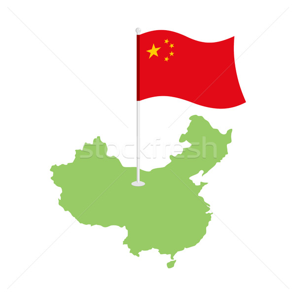 China map and flag. Chinese resource and land area. State patrio Stock photo © popaukropa