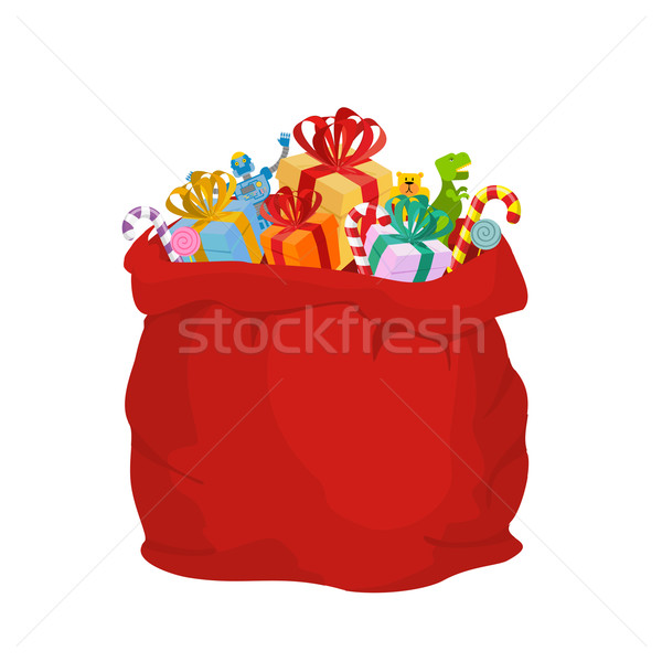 Bag with gifts Santa Claus. Big Red festive holiday bag. Many gi Stock photo © popaukropa