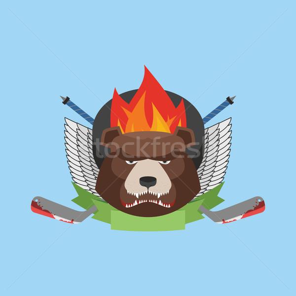 hockey bear emblem. Vector illustration Stock photo © popaukropa