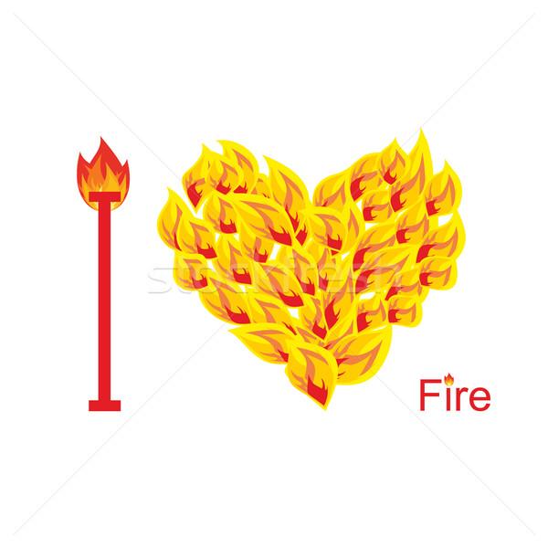 Amor fuego símbolo corazón llama llameante Foto stock © popaukropa