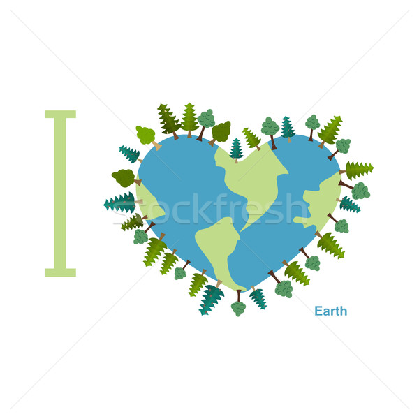 I love Earth. Planet sweetheart with trees. Vector illustration  Stock photo © popaukropa