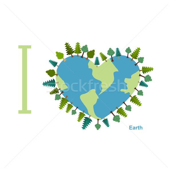 Sevmek toprak gezegen ağaçlar Stok fotoğraf © popaukropa