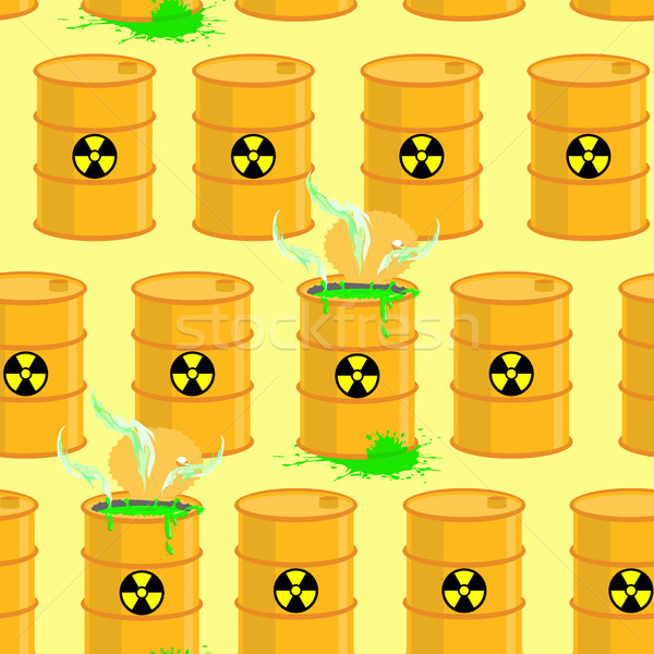 Chemical waste dump. Seamless pattern with barrels of biohazard. Stock photo © popaukropa