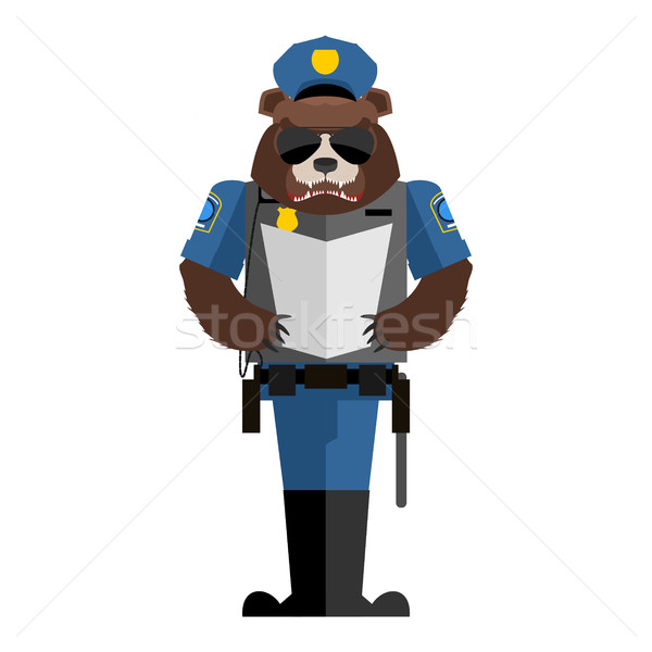 Bear policeman. Wild animal police form. Cap and body armor. gri Stock photo © popaukropa