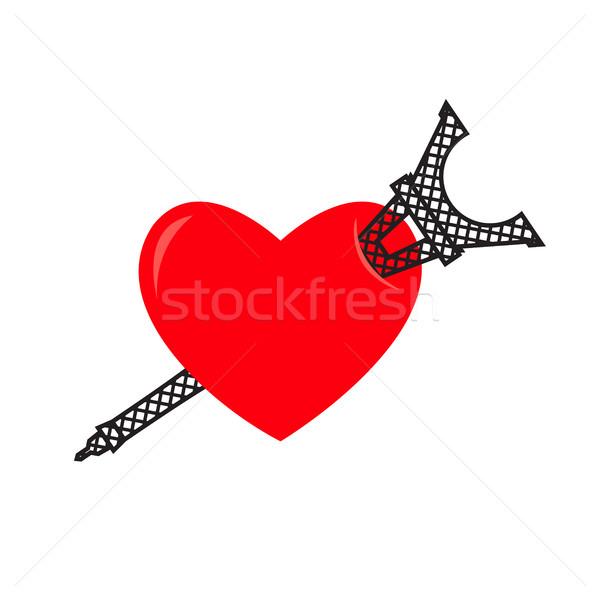 Sevmek Paris Eyfel Kulesi kalp imzalamak gibi Stok fotoğraf © popaukropa