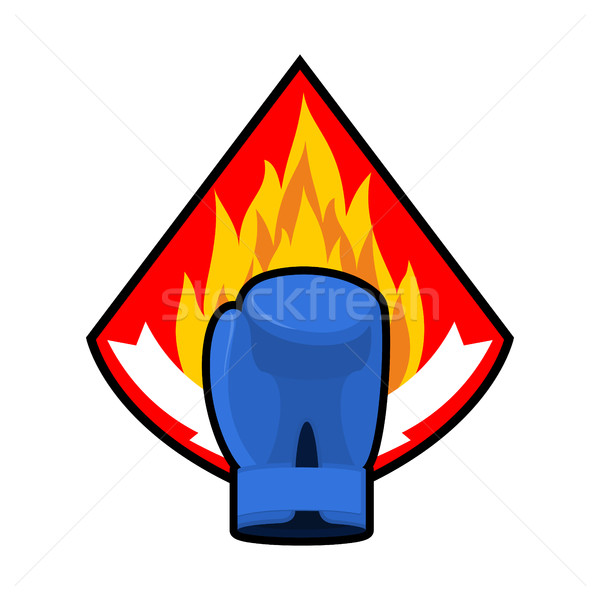 Boxing glove and fire emblem. Logo for sport team  Stock photo © popaukropa