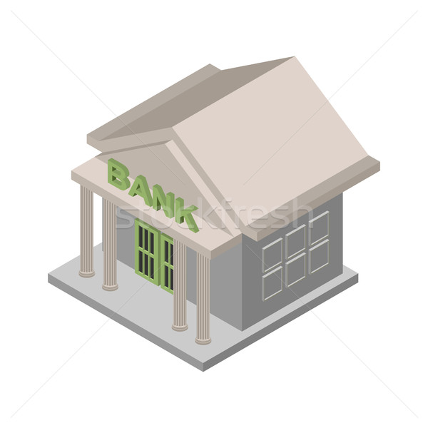 Bank building Isometric isolated. Financial building on white ba Stock photo © popaukropa