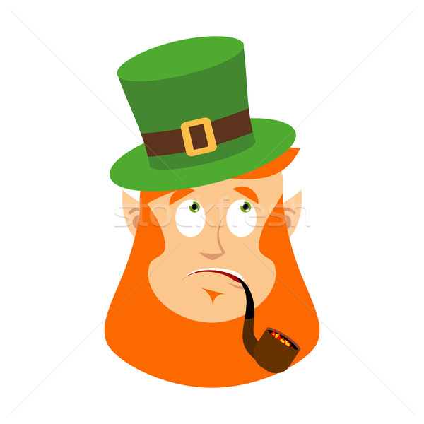 St.Patrick 's Day. Leprechaun surprised. Dwarf with red beard wo Stock photo © popaukropa