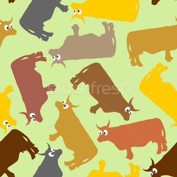 Koe gek grote ogen huisdieren vector Stockfoto © popaukropa