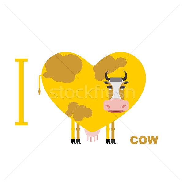 I love cow. Symbol heart of cows. Vector illustration for lovers Stock photo © popaukropa