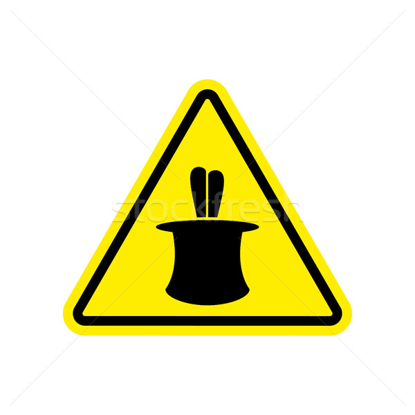 Magic Trick Warning sign yellow. illusion Hazard attention symbo Stock photo © popaukropa