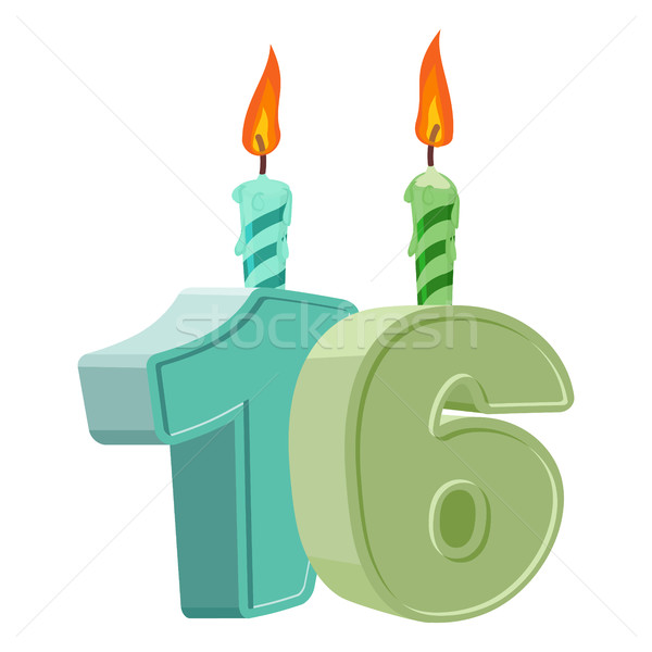 16 years birthday. Number with festive candle for holiday cake.  Stock photo © popaukropa