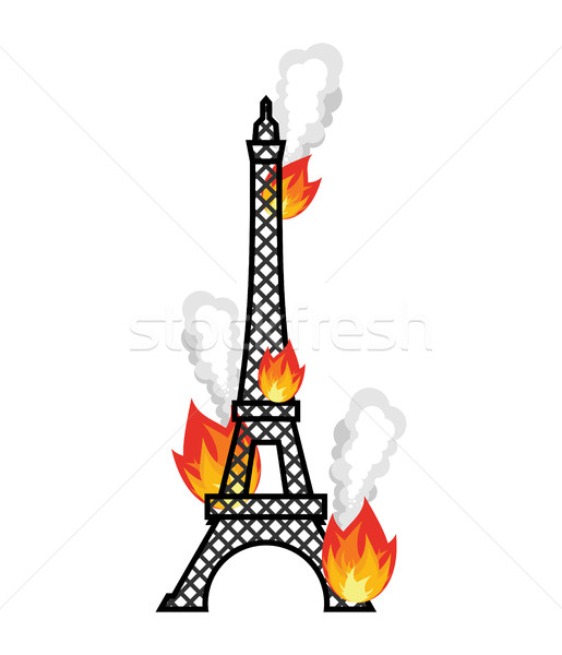 Eiffel Tower fire. Flame in Paris. Disaster Stock photo © popaukropa